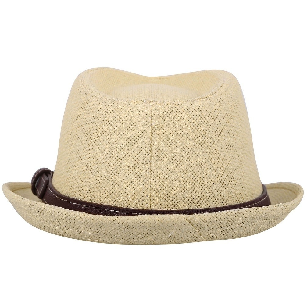 Kids Fedora Straw Sun Beach Fedora Hat-Short Brim with PU Leather//Band Accent