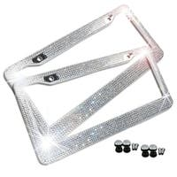 Zone Tech Shiny Bling License Plate Cover Frame - 2-Pack Crystal Bling License Plate Frame with Mounting Screws