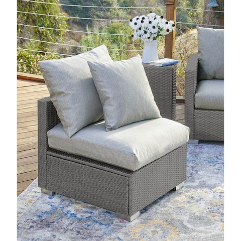 Duxbury Outdoor Smoke Grey Woven Rattan Armless Chair with Sunbelievable Taupe Cushions by Havenside Home