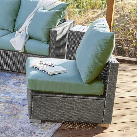 Handy Living Aldrich Outdoor Smoke Grey Woven Rattan Armless Chair with Sunbelievable Teal Blue Cushions