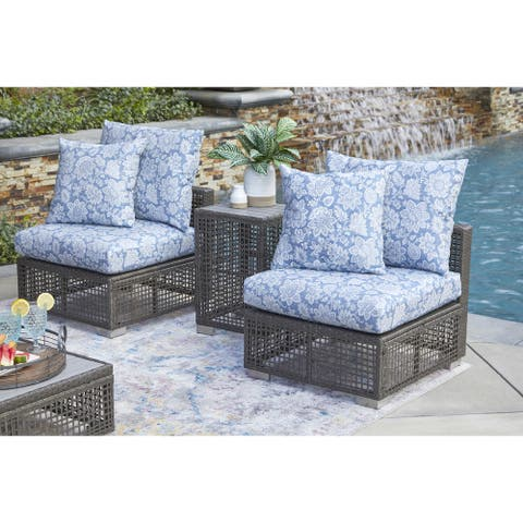 Handy Living Aldrich Outdoor Grey Open Weave Rattan Armless Chair with Sunbelievable Blue Classic Floral Cushions