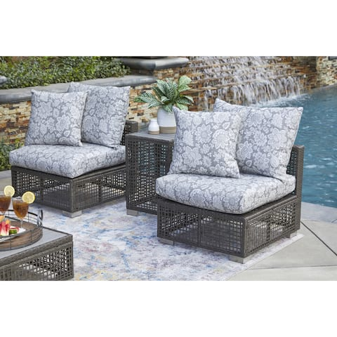Handy Living Aldrich Outdoor Grey Open Weave Rattan Armless Chair with Sunbelievable Grey Classic Floral Cushions