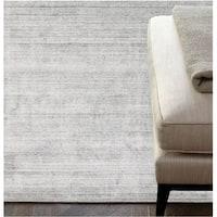 Luxe Handmade Soild Wool Viscose Silver Rug