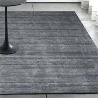 Luxe Handmade Soild Wool Grey Silver Rug