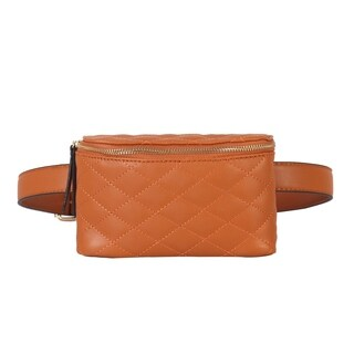 Diophy Quilted Pattern Waist Pack with Round Zipper Closure - S