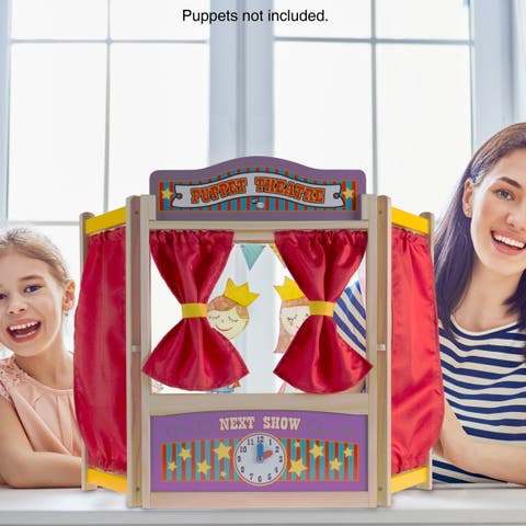 Wooden Tabletop Puppet Theater with Curtains, Blackboard, and Clock- Inspires Imagination and Creati