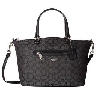 COACH Signature Prairie Black/Smoke Black Satchel Handbag