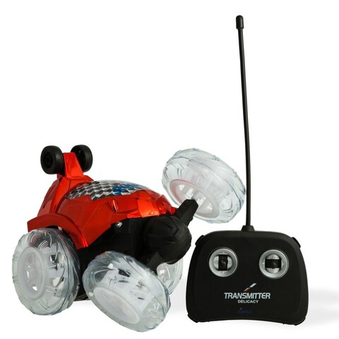 Dimple DC13983R Red RC Remote Controlled Stunt Car with 360 Front Wheels for Flipping, Spinning and Racing