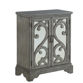 "32"" Grey Rustic Style Accent Cabinet with Two Mirrored Doors"