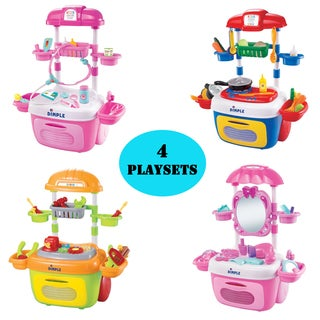 Creative Kids Toys:Toy Kitchen Set, Vanity Dresser Kit, Toy Construction Tool Box Kit, and Doctor Set