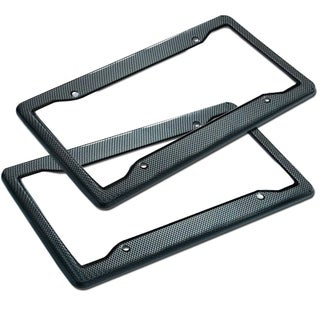 Zone Tech Carbon Fiber Plastic License Plate Cover Frame - 2-Pack Classic Black Standard Fit Novelty/License Plate Frame