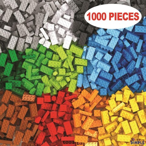 Dimple DC13992 Bucket with 1000 Pieces Brick Building Block Toy, Multi-Colored Stacking Classic Building Bricks