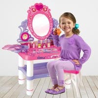 Dimple DC13988 Princess Themed Vanity Girls Set with 16 Fashion & Makeup Accessories, Flashing Lights