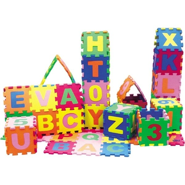 Dimple DC12703 Baby Foam Play Mat (36-Piece Set) 5x5 Inches Interlocking Alphabet and Numbers Floor Puzzle - Multi