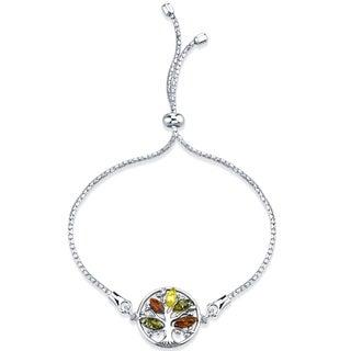 Baltic Amber Tree Of Life Sterling Silver Bolo Adjustable Bracelet - Orange