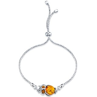 Baltic Amber Owl Sterling Silver Bolo Adjustable Bracelet - Orange