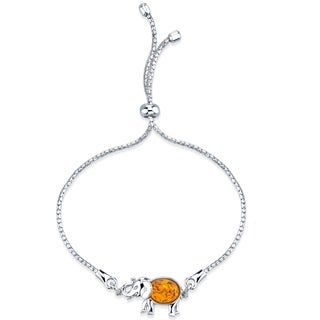 Baltic Amber Sterling Silver Elephant Adjustable Friendship Bracelet - Orange
