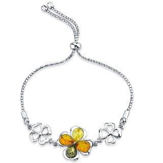 Baltic Amber Shamrock Sterling Silver Adjustable Friendship Bracelet - Orange