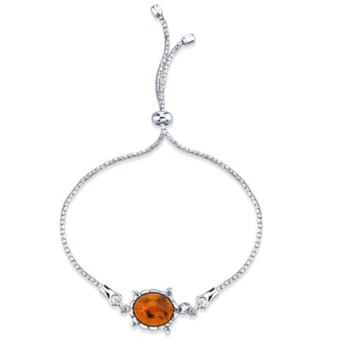 Baltic Amber Turtle Sterling Silver Bolo Adjustable Bracelet - Orange