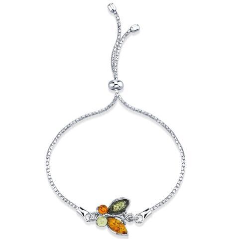 Baltic Amber Butterfly Sterling Silver Bolo Adjustable Bracelet - Orange