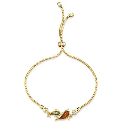 Baltic Amber Dolphin Gold-Tone Sterling Silver Bolo Adjutable Bracelet - Orange