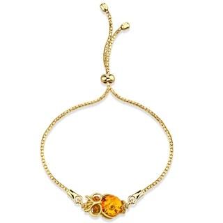 Baltic Amber Owl Gold-Tone Sterling Silver Bolo Adjustable Bracelet - Orange