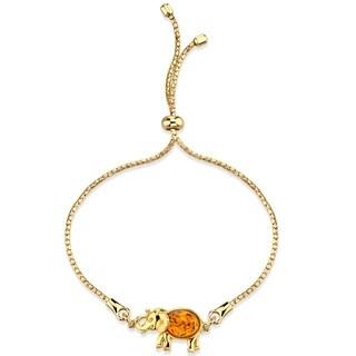 Baltic Amber Gold-Tone Sterling Silver Elephant Bolo Adjustable Bracelet - Orange