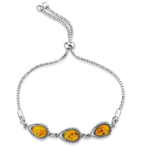 Baltic Amber Sterling Silver 3-Stone Adjustable Friendship Bracelet - Orange