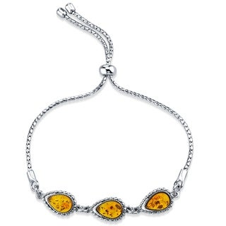Baltic Amber Sterling Silver 3-Stone Adjustable Friendship Bracelet - Orange