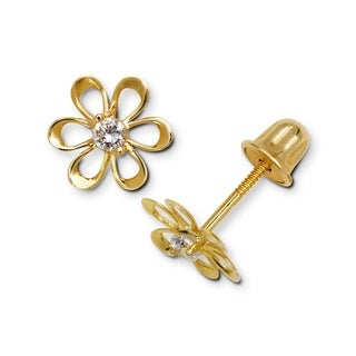 Curata 14k Yellow or White Gold Cubic Zirconia Small Open Daisy Flower Screw-Back Earrings (8mm) - N/A