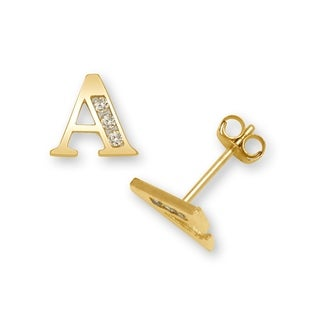 Curata Solid 14k Yellow Gold Channel-set Cubic Zirconia Initial Pair Earrings (A-Z) - White