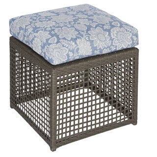 Handy Living Aldrich Grey Open Weave Outdoor 2pc Ottoman Set with Blue Floral Cushions