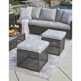 Handy Living Aldrich Grey Open Weave Outdoor 2pc Ottoman Set with Grey Floral Cushions