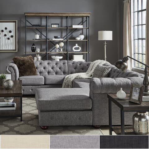 Knightsbridge Tufted Chesterfield U-Shape Sectional with Chaise by iNSPIRE Q Artisan