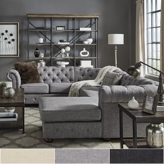 Knightsbridge Tufted Scroll Arm Chesterfield U Shape Sectional With Chaise By Inspire Q