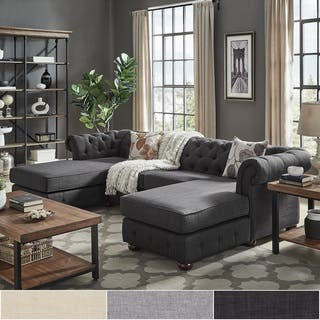 Knightsbridge Tufted Scroll Arm Chesterfield 4-Seat Sofa and Chaise Lounges by iNSPIRE Q Artisan
