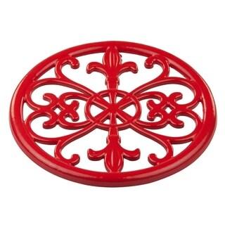 Sweet Home Collection Cast Iron Fleur De Lis Trivet (Red)