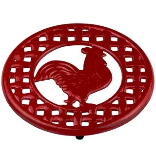 Sweet Home Collection Cast Iron Rooster Trivet (Red)