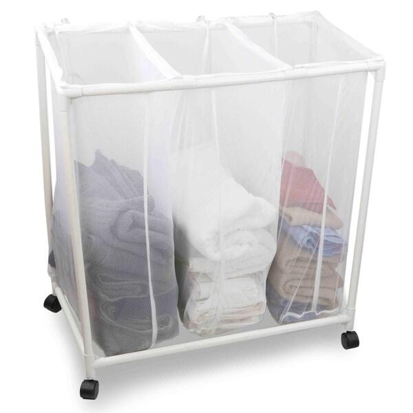 Shop Mesh Triple Laundry Sorter With Wheels On Sale