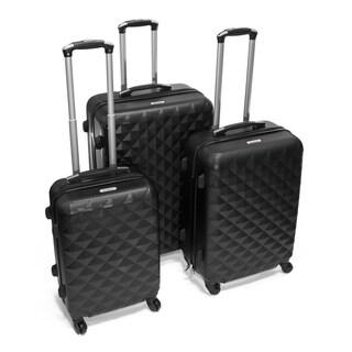 ALEKO Luggage Diamond Pattern 3-piece Hardside Spinner Luggage Set Color Options