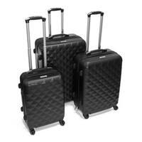 ALEKO Luggage Diamond Pattern 3-piece Hardside Spinner Luggage Set