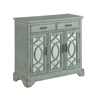 """40""""Rusic Style Credenza Accent Cabinet with Two Mirrored Door and 2 Drawer in Light Teal Finish"""