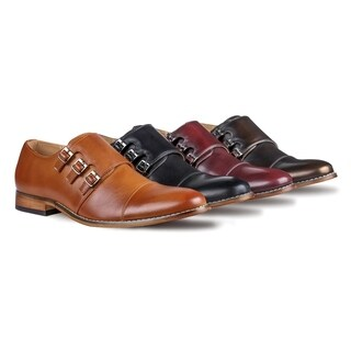 UV Signature Men's Triple Monk Strap Cap Toe Dress Shoes