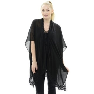 BYOS Womens Soft Sheer Open Front Long Kimono Shawl Warp With Lace Trim In Solid Color