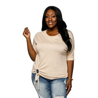 Xehar Womens Plus Size Casual Solid Ring Tie Detail Tunic Blouse Top (3 options available)