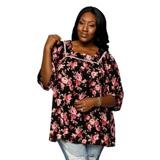 Xehar Womens Plus Size Casual Crochet Floral Tunic Blouse Top