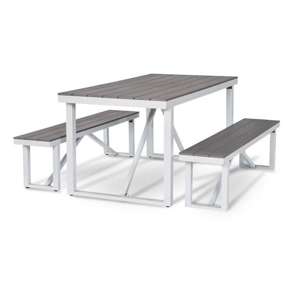 Numana-3 Piece Aluminum and Faux Wood Patio Picnic Table Set  sc 1 st  Overstock.com & Numana-3 Piece Aluminum and Faux Wood Patio Picnic Table Set - Free ...