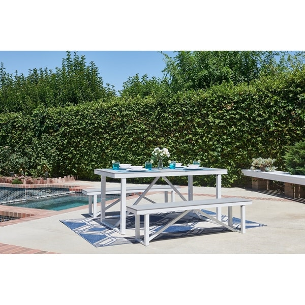 Numana 3 Piece Aluminum And Faux Wood Patio Picnic Table Set