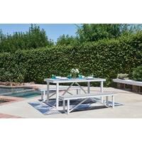 Numana-3 Piece Aluminum and Faux Wood Patio Picnic Table Set