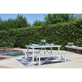 Numana-3 Piece Aluminum and Faux Wood Patio Picnic Table Set